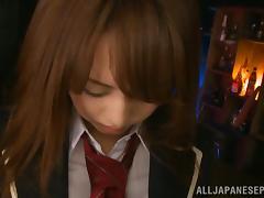 Amazing Japanese schoolgirl Akiho Yoshizawa sucks cock