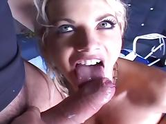 Titfucks her until he pops on her tongue.