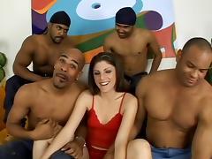 Gangbang of White Chick & 4 Black Cocks