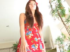 Brown-haired teen Alaura gets a chance to test her new toy