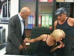 Blonde milf secretary gets double cock fun