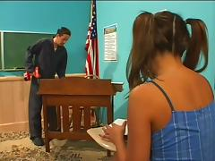 Bad Girl with Pigtails Fucks Her Teacher For Better Grades