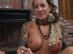 Pierced Nipples, Blowjob, Brunette, Facial, Handjob, Jerking
