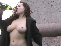 Flashing, Brunette, Curly, Drinking, Drunk, Flashing