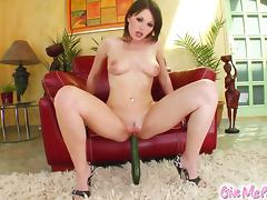 Sensual brunette dildos her tight pink cunt