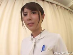 Pretty Japanese nurse Chika Kitano sucks and rubs a small cock porn video