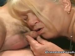 Younger dude fucks blonde granny