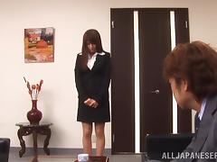 A Japanese office girl gets spanked and toyed by her boss