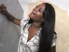 Black bitch Lux Play takes a gloryhole weiner in her pussy and mouth
