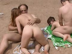 Nudist, Banging, Beach, Blowjob, Group, Nudist
