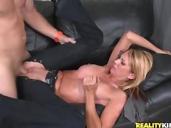 Scrumptious Blonde Goes Hardcore With A Hot Guy Over A Couch