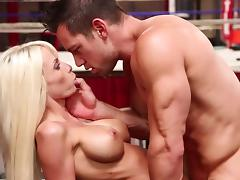 Gym, Blonde, Blowjob, Couple, Cum in Mouth, Gym
