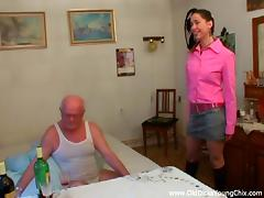 Pretty Brunette Goes Hardcore With A Really Old Man