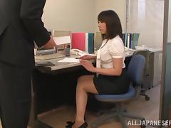 A Japanese secretary gets her pussy licked and fucked