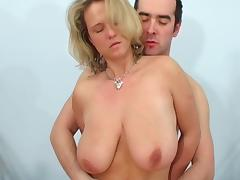 Great tits on this blonde milf