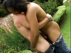 Two Latin poofters have some dirty doggy style sex in the garden