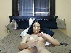 Beautiful busty Asian jerking and cuming