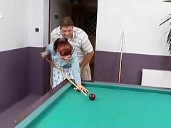 Red haired german mature fucked on a pool table