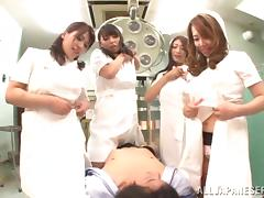 Four japanese chicks are pleasing you before the surgery