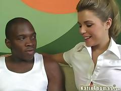 Hardcore interracial sex scene with insatiable blonde Katie Thomas