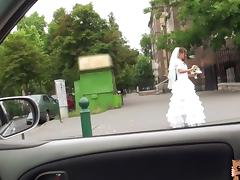 Bride, Banging, Blowjob, Bride, Car, Cum