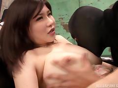 Anri Okita is a hot Asian milf getting massive cumshot facial