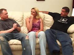 Katrina Angel gets double penetrated in interracial gangbang action