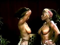Wrestling, Black, Catfight, Ebony, Wrestling, Vintage