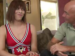 Shemale Cheerleader Fucks and Gets Fucked