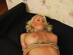 Ideal blonde tied, licked and fingered well