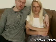 A horny blonde gets her pussy slammed after giving a blowjob
