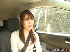Japanese Amateur With Long Hair Masturbates In The Car