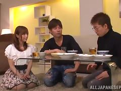 Yuu Namiki captivating Japanese babe gets hot threesome fuck