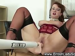 Solo slut in stockings use dildo machine