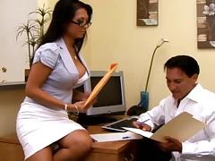 Office, Blowjob, Brunette, Couple, Glasses, Office
