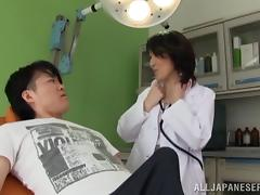 Rei Aimi gives a blowjob and a rimjob to a horny man