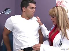 Sexy blonde nurse Shayla Leveaux seduces a guy and fucks him