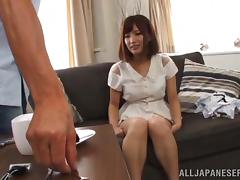 Asian babe is shaved and masturbated by a guy