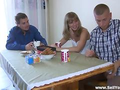 Hot Russian Fucked Next To Her Cuckold Boyfriend