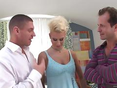 Hot, Blonde Pornstar With Big Tits Enjoying A Mind-Blowing Threesome Fuck