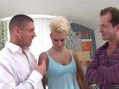 Hot, Blonde Pornstar With Big Tits Enjoying A Mind-Blowing Threesome Fuck