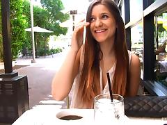 Delicious Nicole Talks About Sex In A Restaurant Outdoors