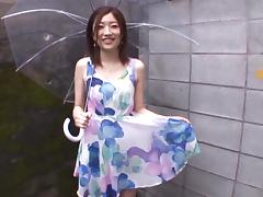 Smiling Japanese brunette Miki Yoshimura is ready to serve dude
