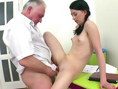 Old and Young, Blowjob, Brunette, Desk, Small Tits, Teacher