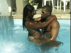 Sexy babes fucked in the pool by a horny guy