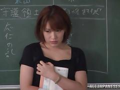 Hot gangbang action with curvy Japanese teacher Emily Takahash