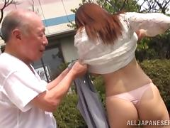 Japanese hussy lets an old man fuck her nice pussy