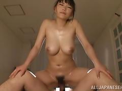 Asian Cutie With Big Natural Tits Gets Her Hairy Pussy Drilled