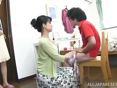 Japanese mom seduces a guy and gives him a hot blowjob