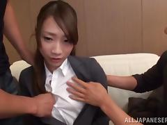 Japanese Hottie Gets A Big Cumshot In A Nasty MMF Threesome